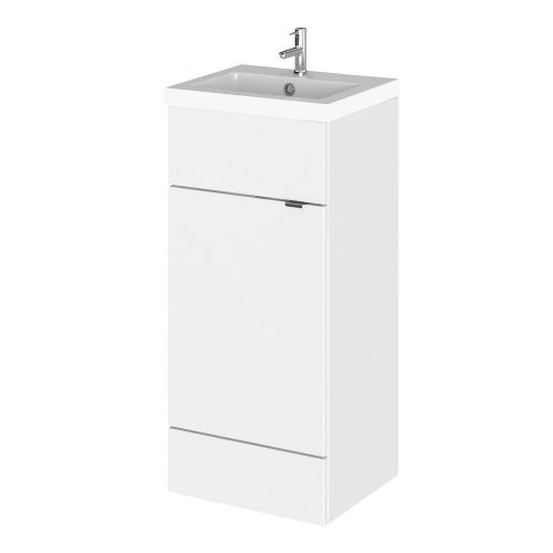 Elite White Gloss 400mm Full Depth Vanity Unit & Basin